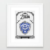 legend of zelda Framed Art Prints featuring Zelda legend - Hylian shield by Art & Be
