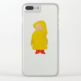 Toddlers April Showers Rainy Day Hand-Painted Watercolor Clear iPhone Case