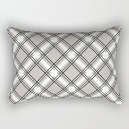 Black, Grey and White Criss-Cross Plaid Pattern Rectangular Pillow