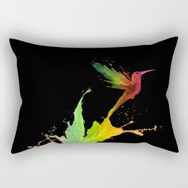 Colors Humming Bird (black bg) Rectangular Pillow