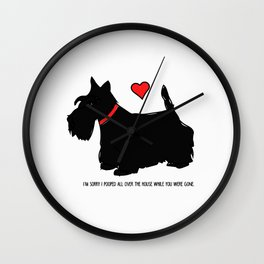 Scottish Terrier Dog-I'm Sorry (red heart) Wall Clock