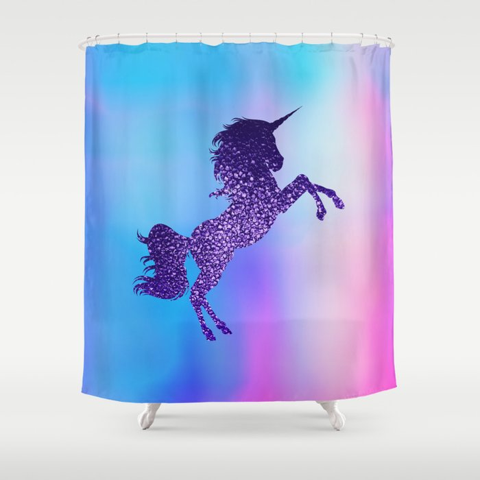 Purple Sparkly Unicorn Shower Curtain
