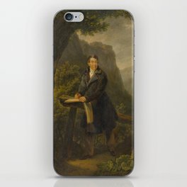 ATTRIBUTED TO FREUDWEILER, HEINRICH (1755 Zurich 1795) Portrait of a draughtsman in a mountain lands iPhone Skin
