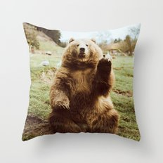 Hi Bear Throw Pillow