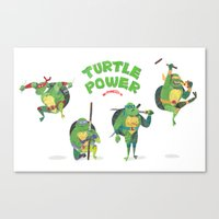 ninja turtle Canvas Prints featuring Ninja Turtles Turtle Power by MrMaars