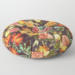 Autumn Flowers and Leaves Floor Pillow