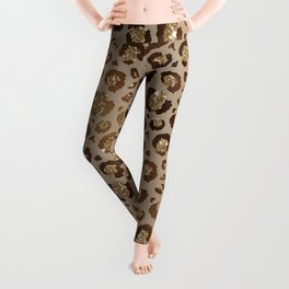 Brown Glitter Leopard Print Pattern Leggings