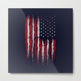Red & white American flag on Navy ink Metal Print