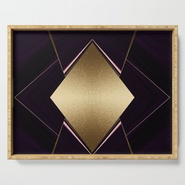 Rich Gold and Purple Accent Diamond Pattern Serving Tray
