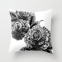 roses Throw Pillows featuring Four Roses by BIOWORKZ