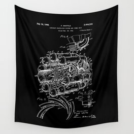 Jet Engine: Frank Whittle Turbojet Engine Patent - White on Black Wall Tapestry