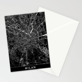 Milan Black Map Stationery Cards