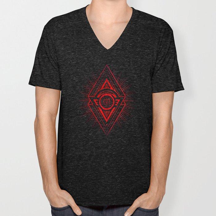 The Eye of Providence is watching you! (Diabolic red Freemason / Illuminati symbolic) Unisex V-Neck