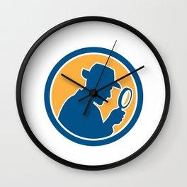 Detective Holding Magnifying Glass Circle Retro Wall Clock