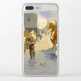 """Frederic Remington Western Art """"The Emigrants"""" Clear iPhone Case"""