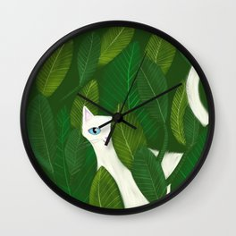 Jungle Cat white cat in leaves artwork by Tascha Wall Clock