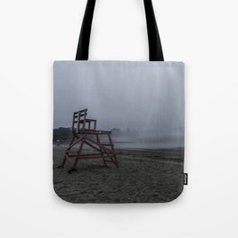 Niles Beach Foggy Evening Tote Bag