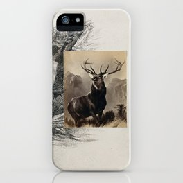Landseer's Monarch of the Glen. Photograph with a pen and ink drawing of a waterfall. iPhone Case