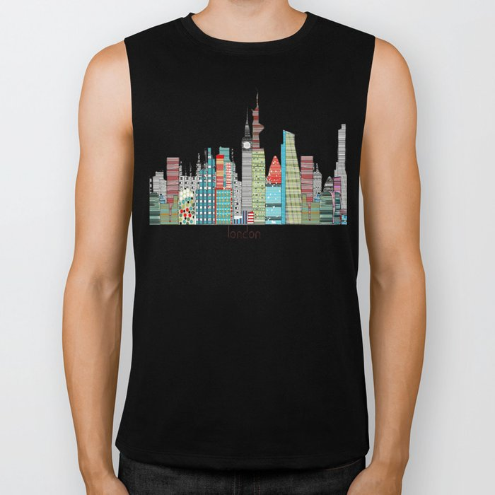 London city skyline  Biker Tank