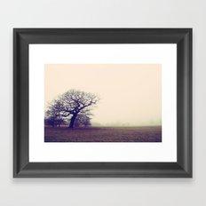 Tree in Fog Framed Art Print