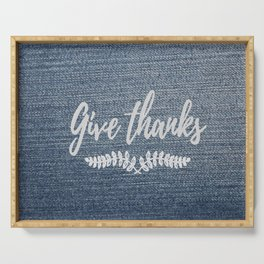 Give Thanks on Denim Serving Tray