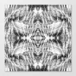 geometric symmetry pattern abstract background in black and white Canvas Print