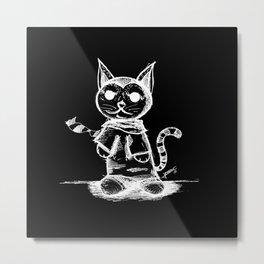 black cat kuroneko ecopop Metal Print