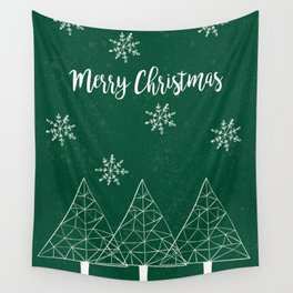 Merry Christmas Green Wall Tapestry