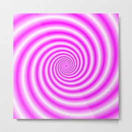 Pink and White Candy Swirl Metal Print