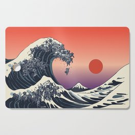 The Great Wave of Black Pug Cutting Board