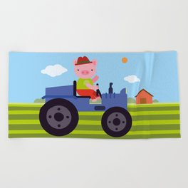 Pig on Tractor Beach Towel