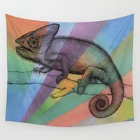 chameleon Wall Tapestries featuring  Chameleon (1) by Amy Fan