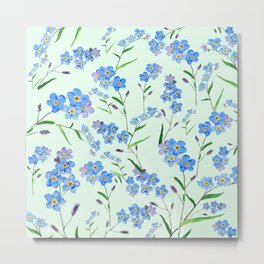 forget me not in green background Metal Print