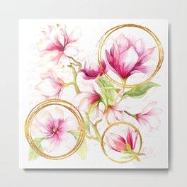 Modern Parisian Magnolias Metal Print