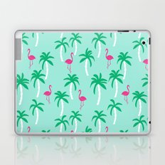 Tropical flamingo and palm trees pattern by andrea lauren cute illustration summer patterns Laptop & iPad Skin