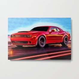MOPAR Challenger Hellcat Demon Torred Painting by Jeanpaul Ferro Metal Print