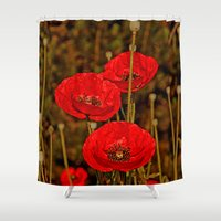 poppies Shower Curtains featuring Poppies by Pirmin Nohr