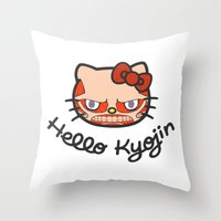 shingeki no kyojin Throw Pillows featuring HELLO KYOJIN by emperorofruin