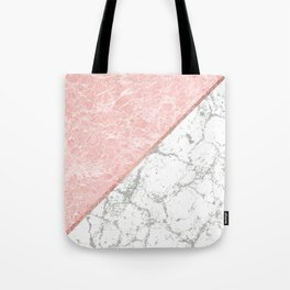 Geometrical pastel gray coral rose gold marble Tote Bag