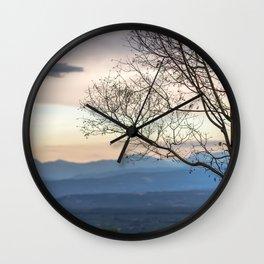 Naked tree on sunset landscape Wall Clock