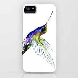 Flying Hummingbird, Blue green wall art minimalist bird iPhone Case