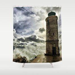 Marseille Lighthouse Old Port Wave Photograph Shower Curtain