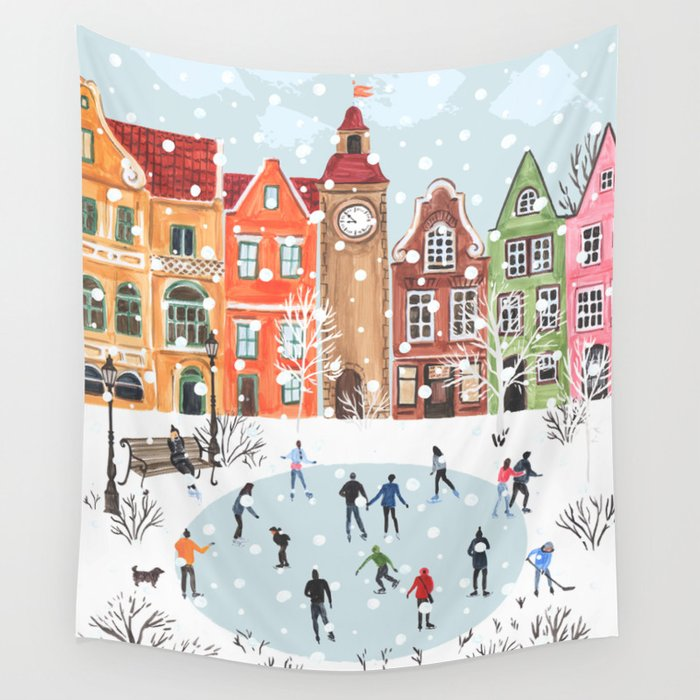 winter town wall tapestry by anyuka