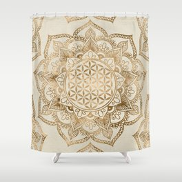 Flower of Life in Lotus - pastel golds and canvas Shower Curtain