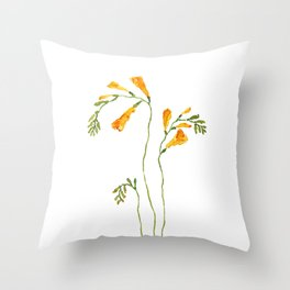 orange freesia watercolor Throw Pillow