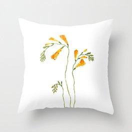 orange freesia watercolor Throw Pillow