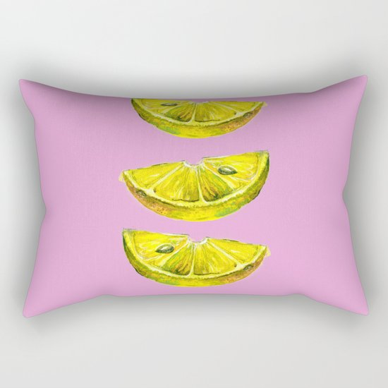 Lemon Slices Pink Rectangular Pillow