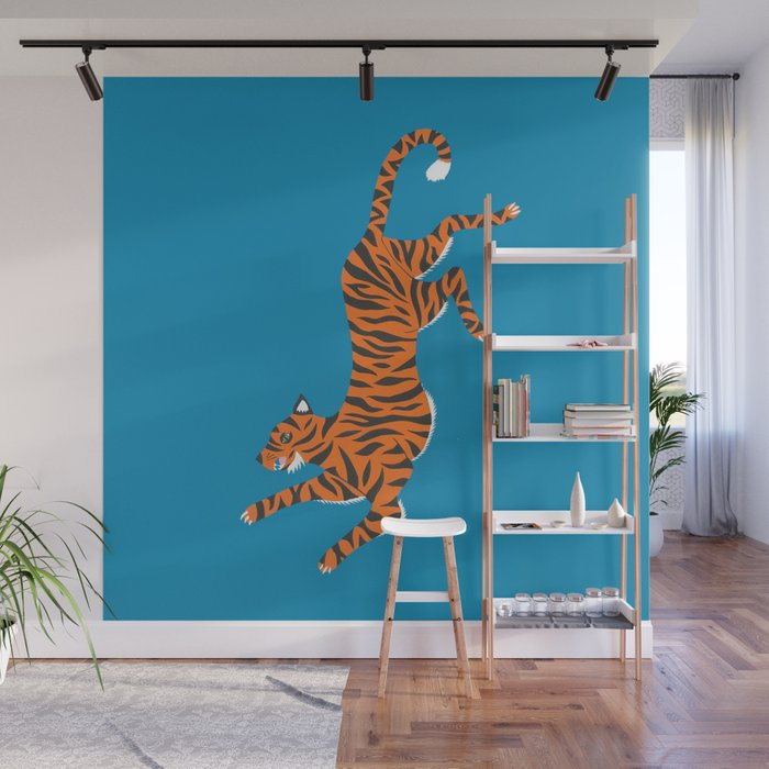 Blue Tiger Wall Mural