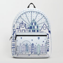 Dutch canal houses from Amsterdam in delft blue Backpack