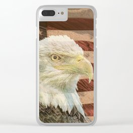 Rustic Bald Eagle on American Flag A213 Clear iPhone Case